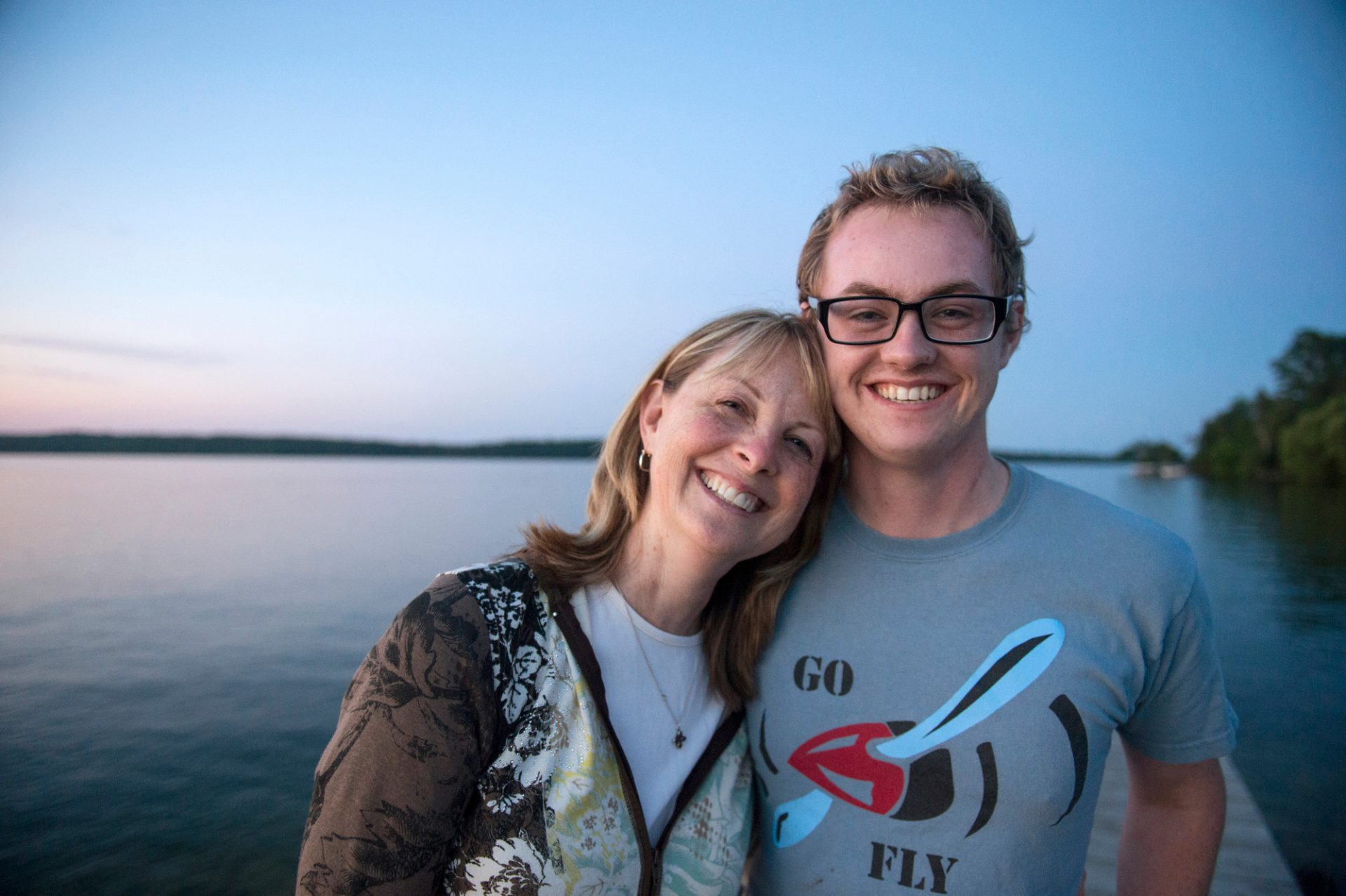 Photo: A woman and her son pose for a picture at Leech Lake, Minnesota.
