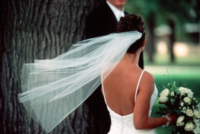 Photo: A bride and groom on their wedding day in Nebraska.