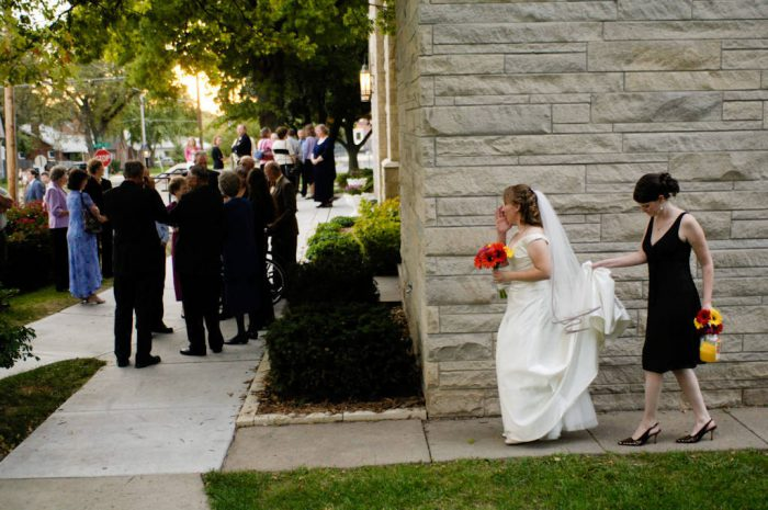 Photo: A bride prepares to walk down the aisle on her wedding day.