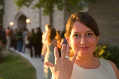 Photo: A woman shows off her ring before attending a Nebraska wedding.