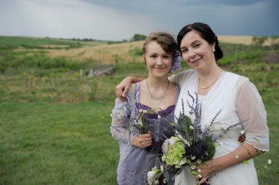 Photo: A bride with her sixteen year-old daughter at a Nebraska wedding.