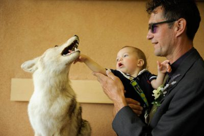 Photo: The groom with his son and dog at a Nebraska wedding.