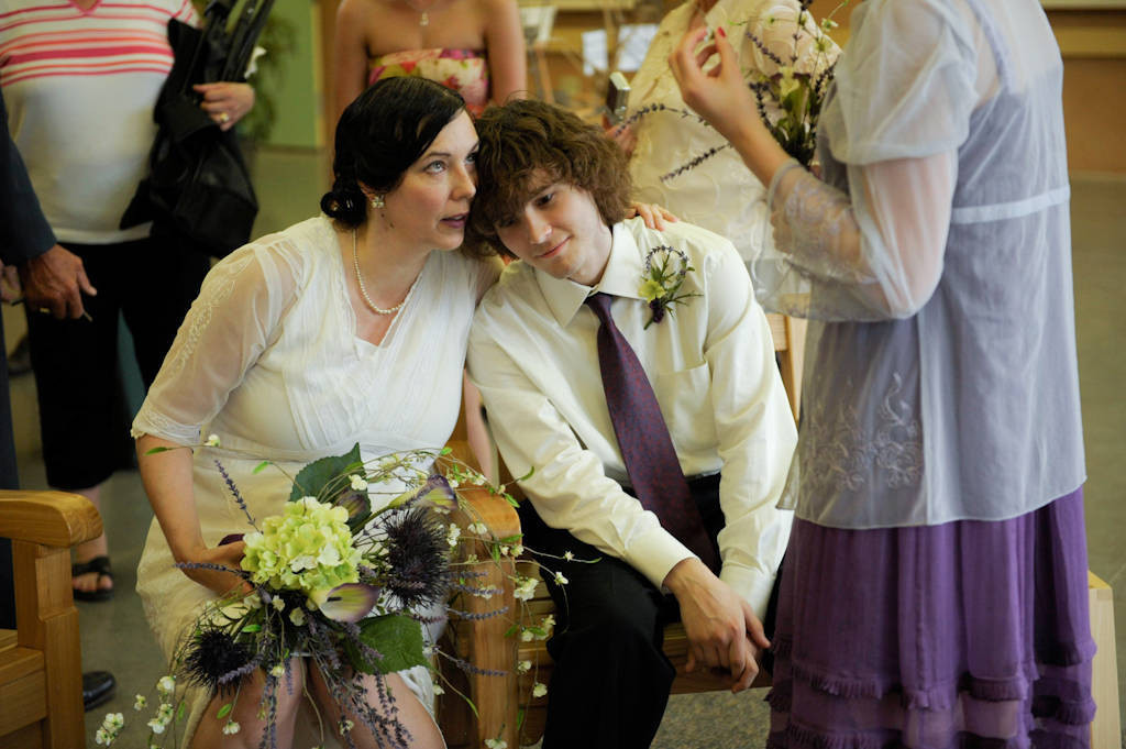 Photo: A bride with her son at a Nebraska wedding.
