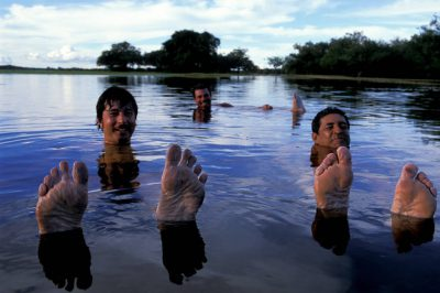 Photo: A group of men take a swim in a flooded pasture in Brazil.