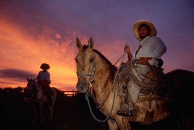 Photo: Pantanieros (cowboys) on horseback in Brazil's Pantanal region.