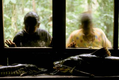 Photo: Workers at an EcoBolivia lodge in Madidi National Park, Bolivia, look at fish that will be cooked for a meal.