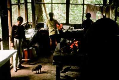 Photo: Workers in the kitchen at an EcoBolivia lodge in Madidi National Park (Bolivia).