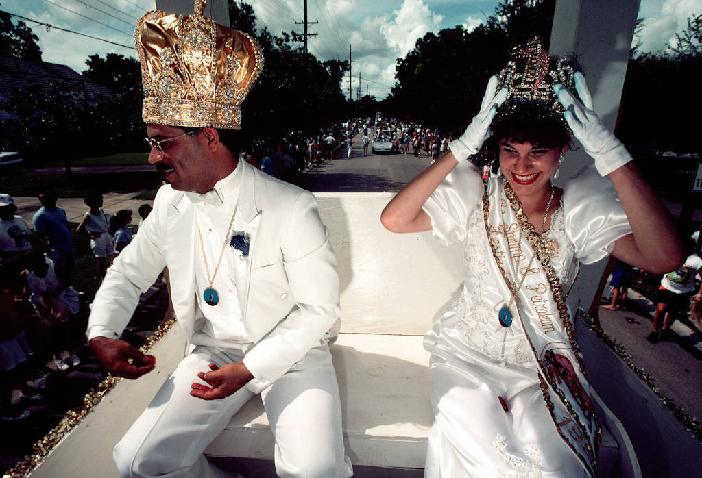 Photo: The king and queen of the Morgan City LA Shrimp Festival (part of the Blessing of the Fleet) wave to the crowd.