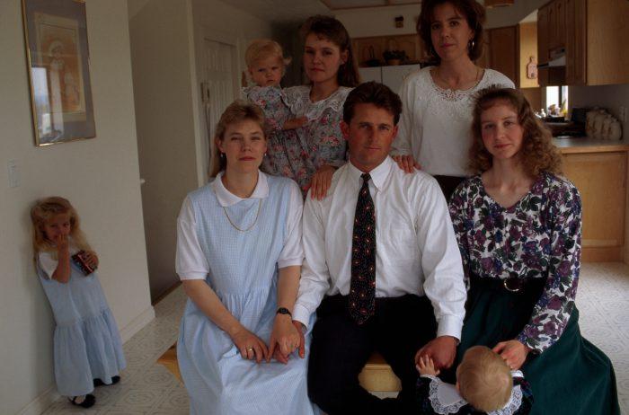 Photo: Fundamentalist Mormon polygamist with wives and children, Salt Lake City, Utah area.