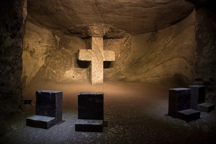 Photo: The Salt Cathedral of Zipaquira, an underground Roman Catholic church built within the tunnels of a salt mine 200 meters underground in a Halite mountain near the town of Zipaquira, in Cundinamarca, Colombia.