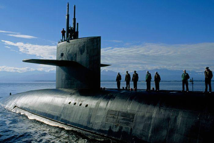 Photo: A nuclear-powered submarine, the U.S.S. Nebraska, carrying warheads.
