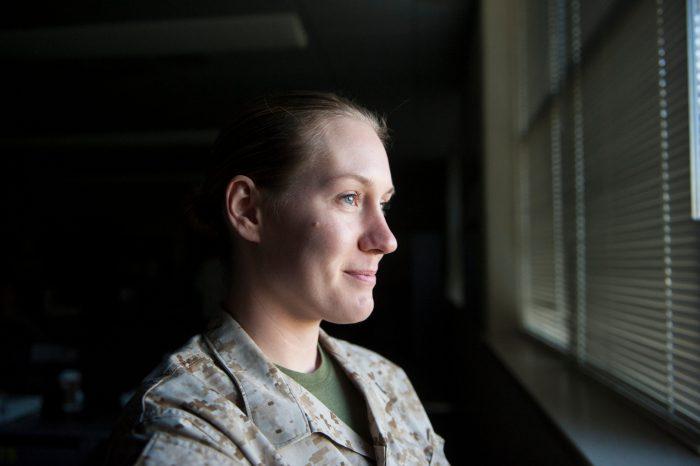 Photo: A military woman.