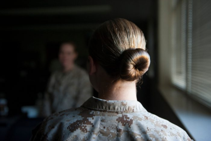 Photo: The hair of a military woman.