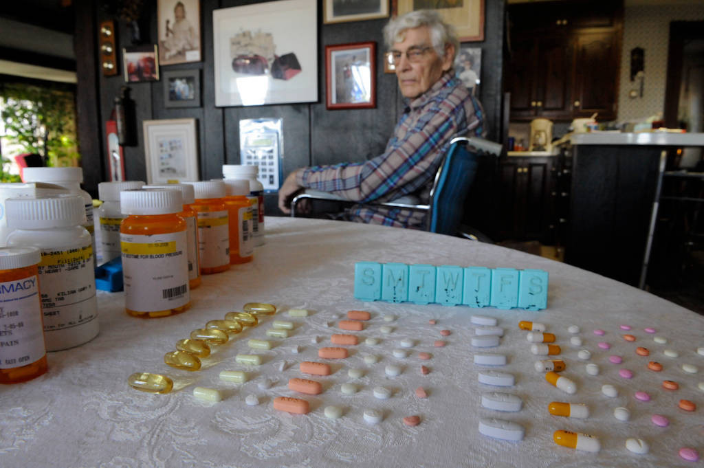Photo: A weeks worth of medicine for one man.