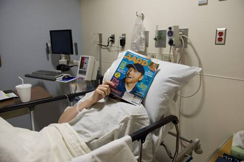 Photo: A woman after a medical procedure.