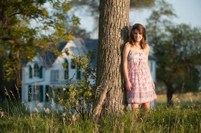 Photo: A teenage girl on a farm near Dunbar, NE.