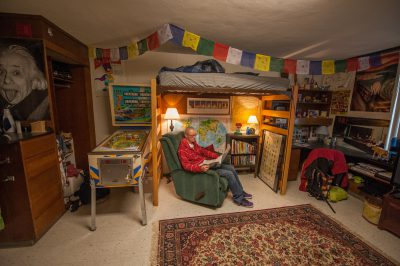 Photo: An 18 year old in his dorm room at the University of Nebraska.