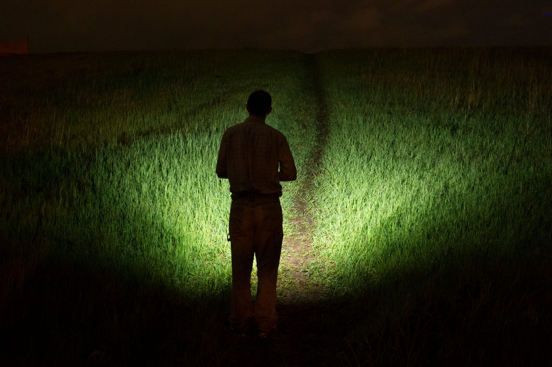 Photo: A man illuminates a field with a flashlight.