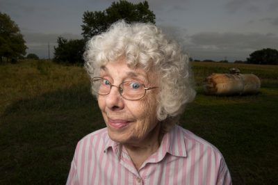 Photo: A woman on an old farm.
