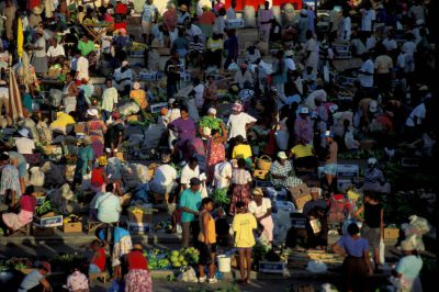 Photo: Crowd of people in a market in St. Lucia in the Caribbean.