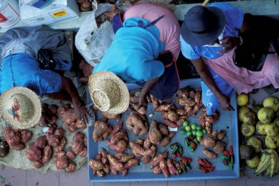 Photo: People in a market in St. Lucia in the Caribbean.