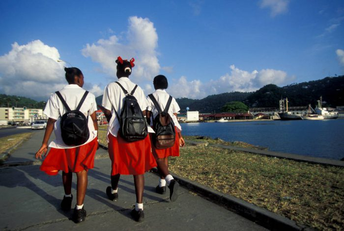 Photo: School children St. Lucia in the Caribbean.