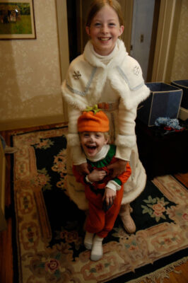 Photo: A 10-year-old girl and her 4-year-old brother get excited for Halloween.