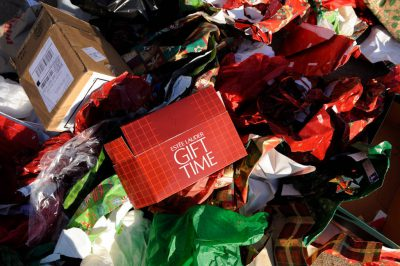 Photo: Garbage from the holidays sits outside waiting to be picked up by trash collection.