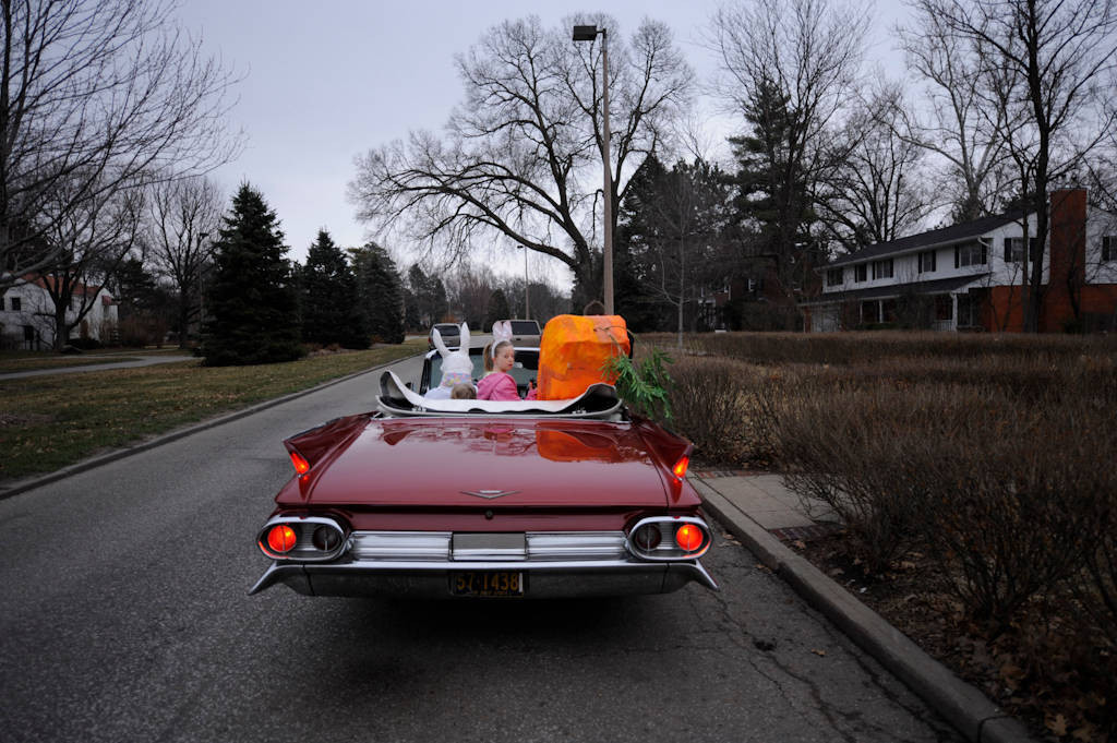 Photo: The Easter bunny drives children to an Easter egg hunt in Lincoln, NE.