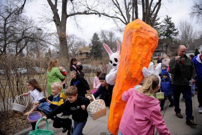 Photo: Children at an Easter egg hunt in Lincoln, NE.