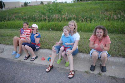 Photo: Families watch kids light fireworks in Redwood Falls, MN.