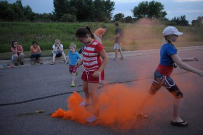 Photo: Families watch fireworks in Redwood Falls, MN.