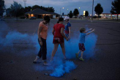 Photo: Children light fireworks in Redwood Falls, MN.