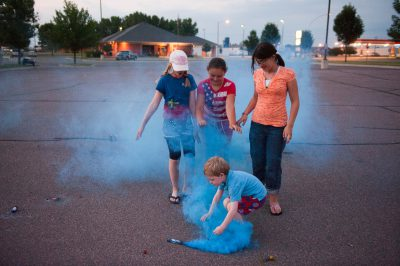 Photo: Children light fireworks in Redwood Falls, MN.