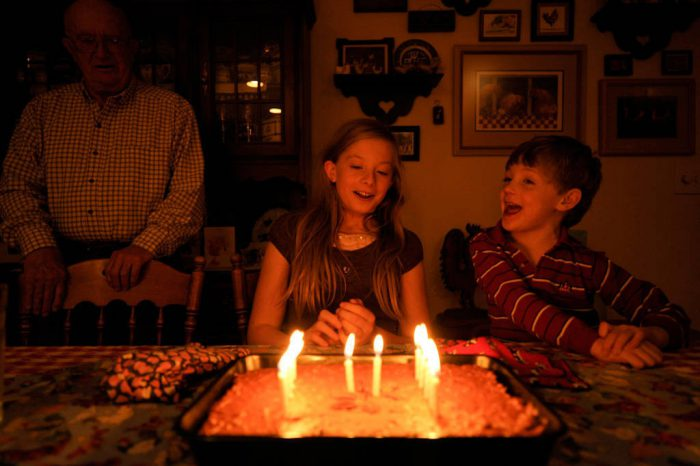 Photo: A girl at her twelfth birthday party.