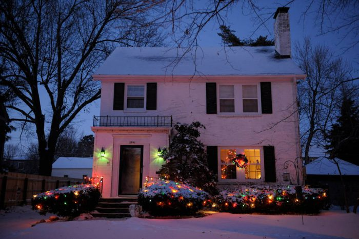Photo: Decorative lights celebrate Christmas for a home in Lincoln, Nebraska