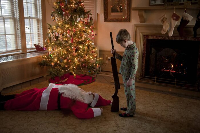 Photo: A young boy shoots an intruder at Christmas time.