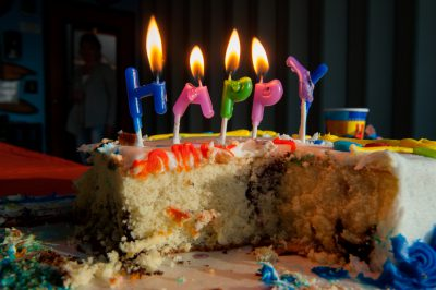 Photo: Half eaten birthday cake, Lincoln, Nebraska.