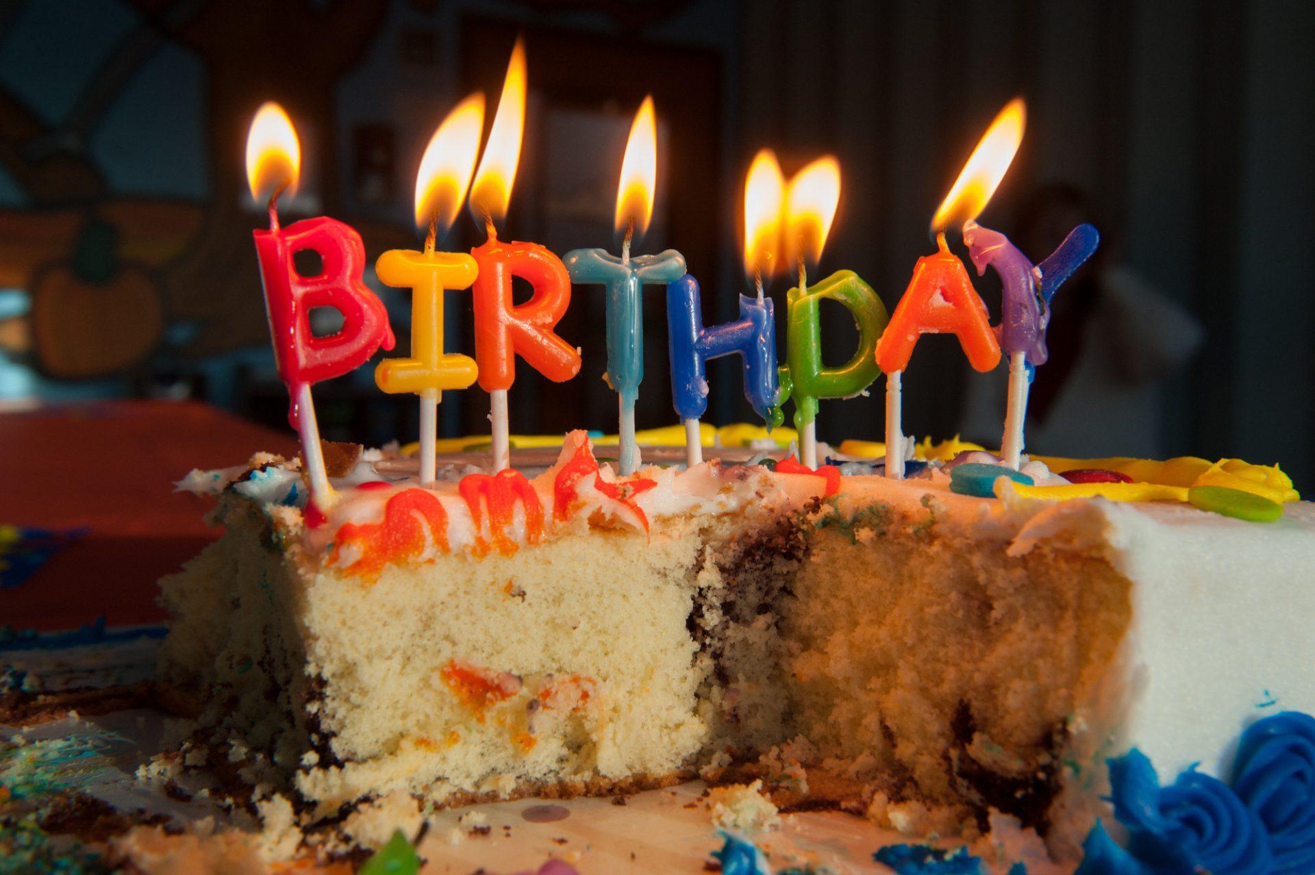 Photo: Half eaten birthday cake, Lincoln, Nebraska.