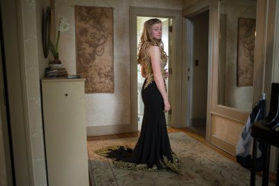 Photo: A teenage girl gets ready for her senior prom.