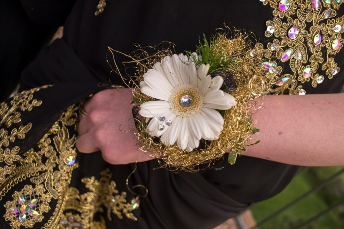 Photo: Detail of a teenage girl's corsage before her senior prom.
