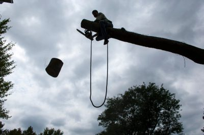 Photo: A man saws off a tree trunk under a cloudy sky in Lincoln, Nebraska.
