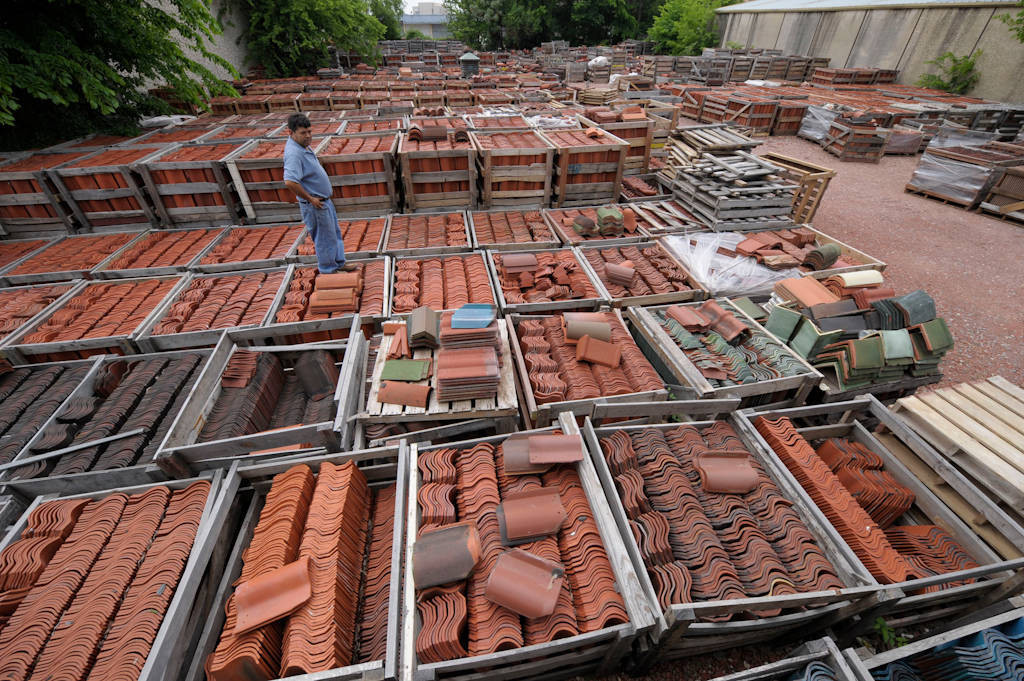 Photo: Roofing tile at a tile yard in Carrollton, Texas.