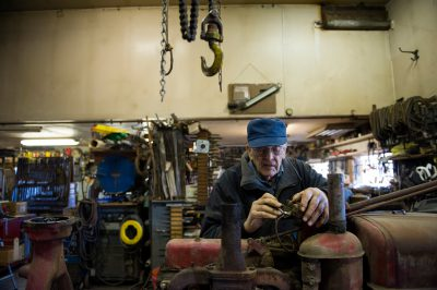Photo: A Nebraska farmer in his workshop.