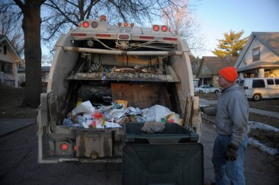 Photo: A garbage truck on its route in a Lincoln, Nebraska neighborhood.