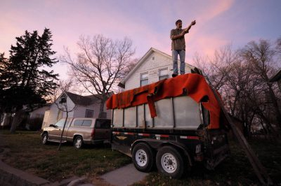 Photo: A man atop a full trailer in Nebraska.
