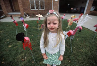 Photo: A young girl sheds tears amongst a flock of yard flamingos.