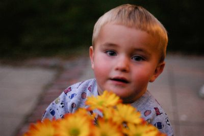 Photo: A 1-year-old boy carries a pot of flowers in Lincoln, NE.