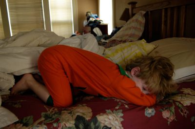 Photo: A 4-year-old boy takes a nap in his halloween costume.
