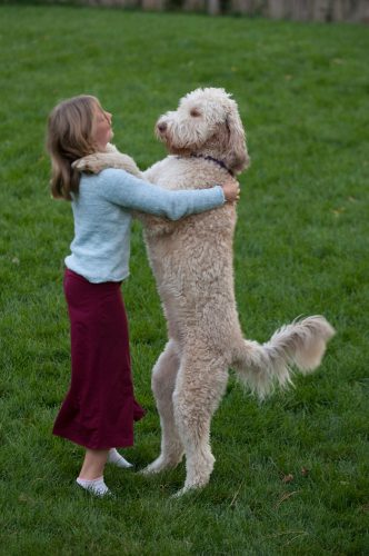 Photo: A 10-year-old girl, with her enormous dog, Muldoon.